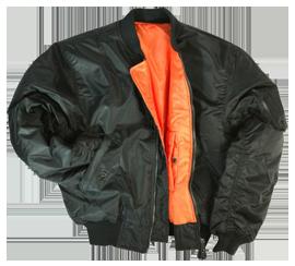 Черная куртка МА-1 с оранжевой подкладкой