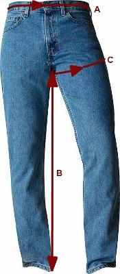Мужские размеры джинсов