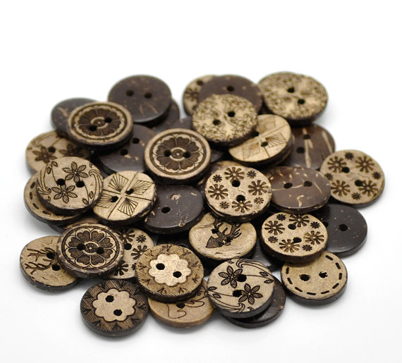 Coconut Shell Wooden Buttons