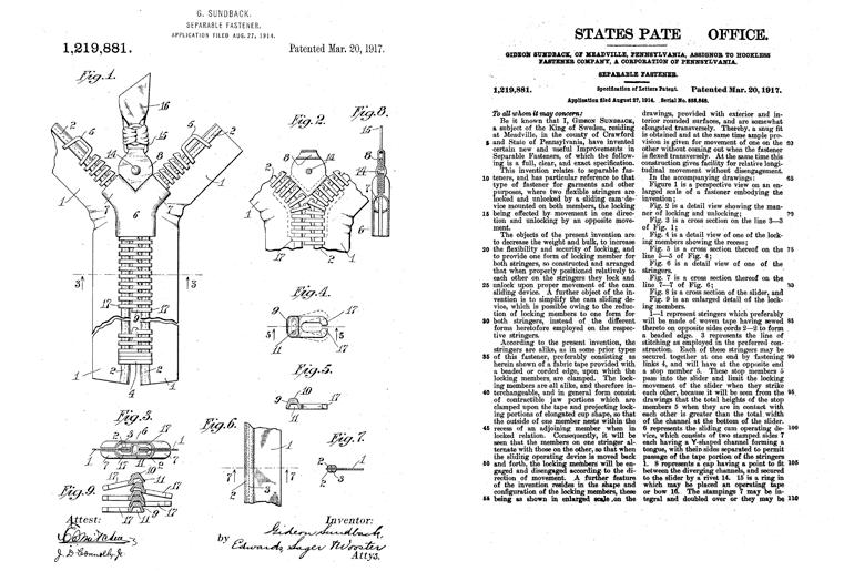 Оригинальный патент Gideon Sundback