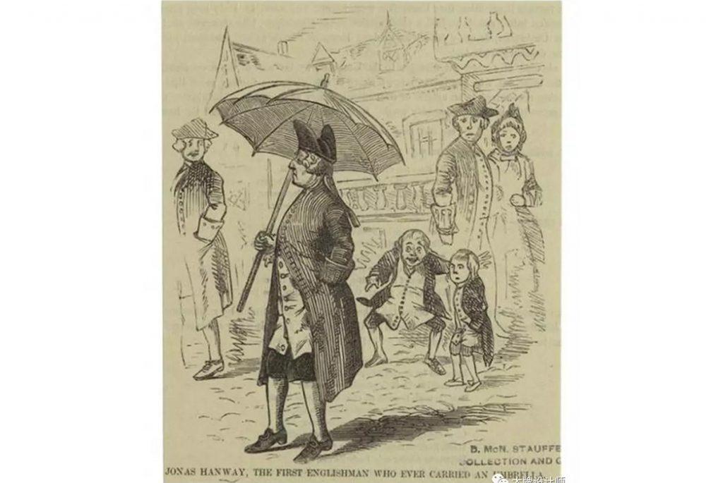 Иллюстрация Джонаса Хэнвея демонстративно размахивая зонтиком