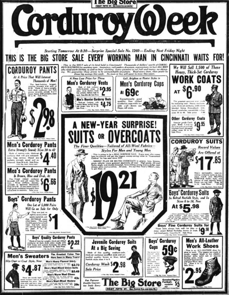 Рекламный проспект начала 20-века посвященный неделе скидок на изделия с вельвета.