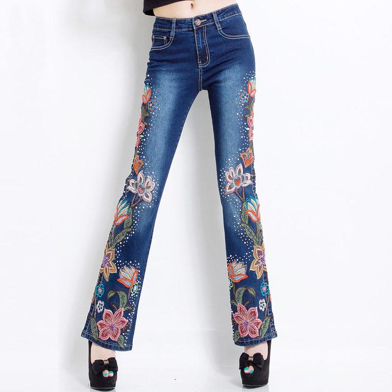 Украшение джинсов с помощью вышивки