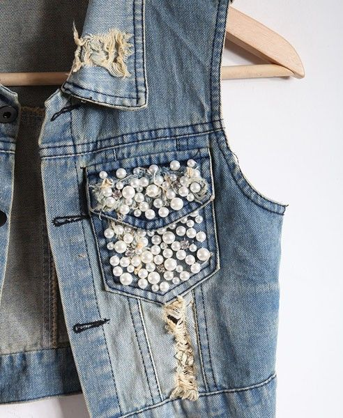 Украшение джинсовой одежды с помощью страз