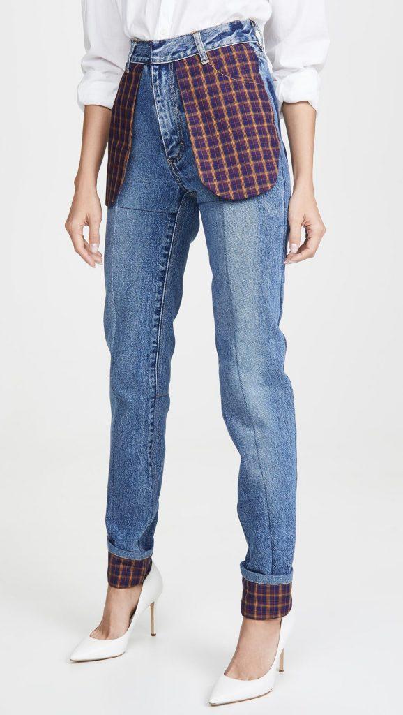 Узкие джинсы Celled с клетчатыми карманами от Ksenia Schnaider
