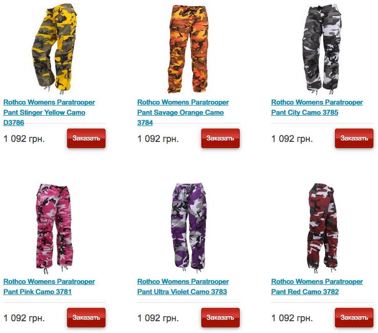 Женские камуфлированные винтажные брюки в стиле милитари