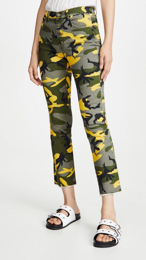 Укороченные расклешенные камуфляжные брюки Kick с наружными пуговицами от бренда Pam Gelo Camo