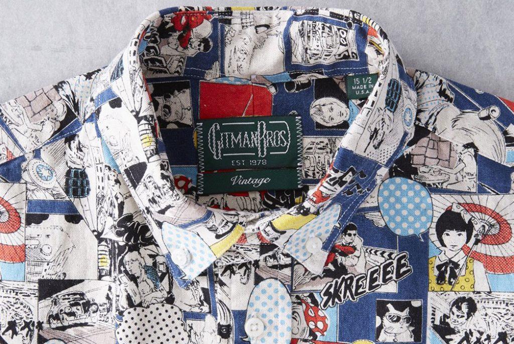 Gitman Vintage представил зимнюю льняную рубашку с принтом в стиле поп арт воротник