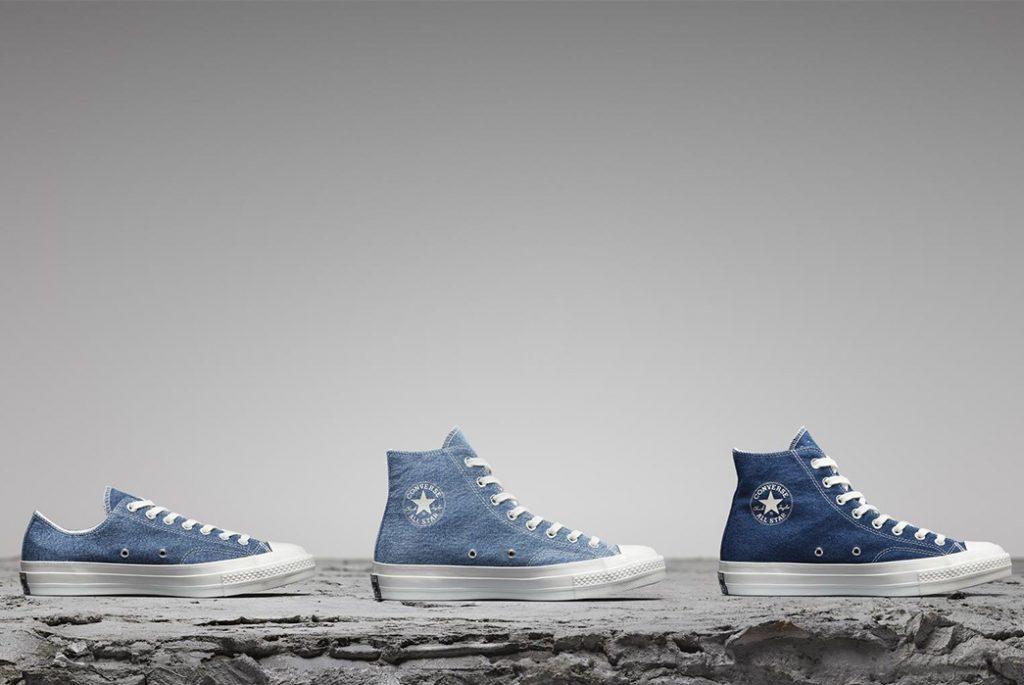 Три разных цвета обуви Converse из перемотанного денима