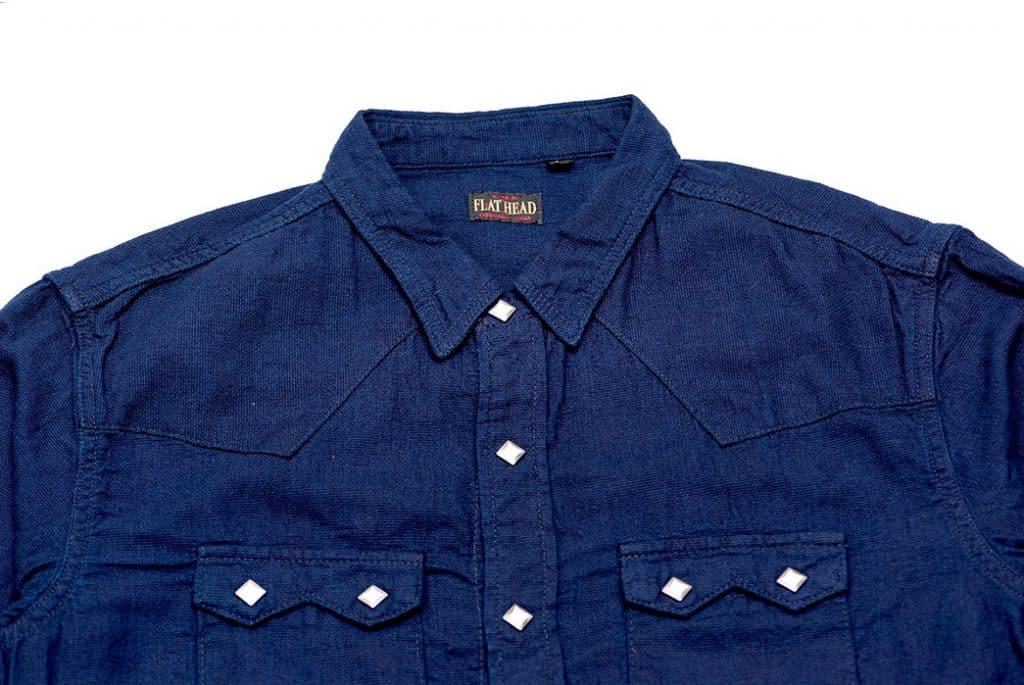 The Flat Head представил рубашку в стиле вестерн из материала добби верх спереди