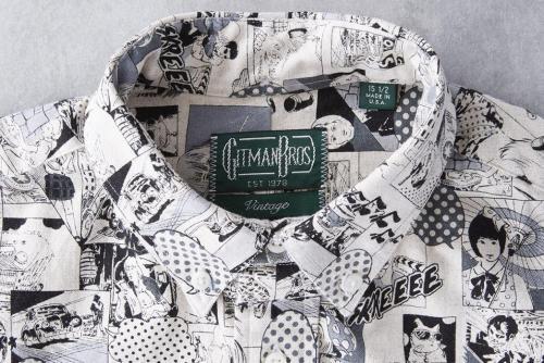 Gitman Vintage представил зимнюю льняную рубашку с принтом в стиле поп-арт-черно-белая-воротник