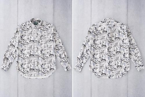 Gitman Vintage представил зимнюю льняную рубашку с принтом в стиле поп-арт-черно-белая-перед-зад